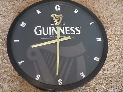 """Beautiful Large Steel Guinness Beer  Sign Wall Clock Bar Tavern Man Cave 24"""" NOS"""
