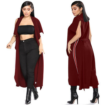 Women Sleeveless Irregular Cardigan Long Cloak Lapel Cape Open Front Trench Coat
