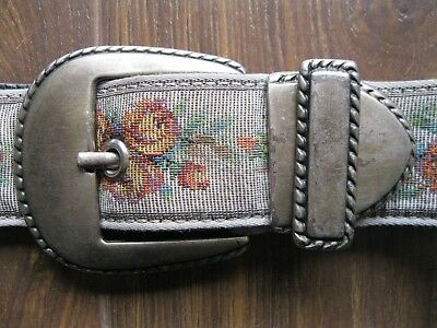 Vintage Floral Fabric Tapestry Silver Metal Belt Small