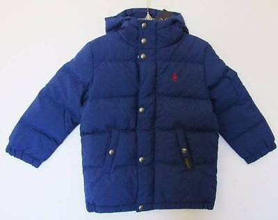 Ralph Lauren Boys Chase Blue Hooded Down Puffy Jacket (3/3T) NWT