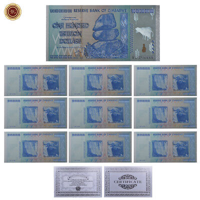 WR 10X Zimbabwe 100 Trillion Dollars SILVER Foil Plated Banknote Set Color + COA
