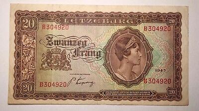 1943 Luxembourg 20 Frang - LOW RESERVE!