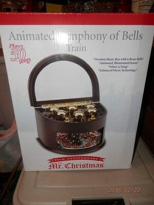 Animated Symphony Of Bells Musical Tabletop Decoration Simple Mrchristmas Musical Bell Symphonium Cherry Wood Music Box Design Decoration