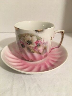 Hand Painted, Tea cup and saucer, Fine Bone China, Flowers w/Gold trim