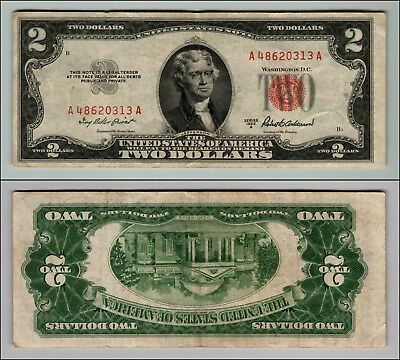 1953 $2 Dollar Bill Old Us Note Legal Tender Paper Money Currency Red Seal P681