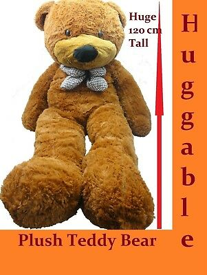 1.2M Giant Huge Stuffed Teddy Bear & Bow Tie Huggable Soft Plush Chestnut New