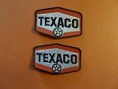 """Lot Of 2 -""""texaco Stations Embroidered Iron Patches 1-7/8 X 2-7/8 #142"""