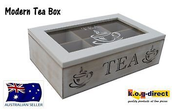 Wooden Modern Tea Box Container Glass Lid With 6 Divisions Holds 60 Bags Hw-202A