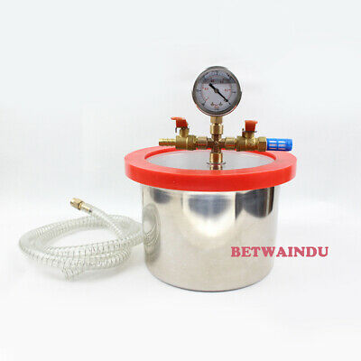 "1 Gallon 180MM*130MM Stainless Steel Vacuum Degassing Chamber, 1/2"" Acrylic Lid"