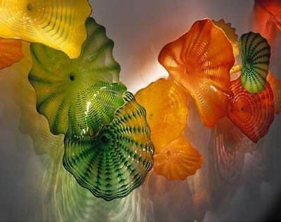Murano Colored Glass Art Dale Chihully Style Hand Blown Glass in Flower Shape -