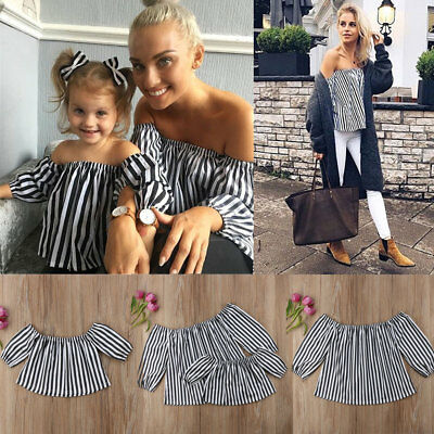Mother and Daughter Casual Off Shoulder Tops Shirts Mommy&Me Matching Set Outfit