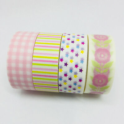 Washi Tape Set Pinks 4 Rolls X 15Mm X 5Mtr Roll Planner Craft Scrap Wrap