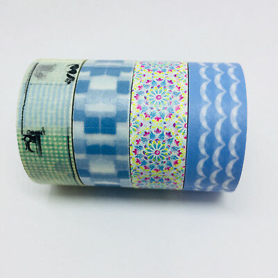 Washi Tape Set Blues 4 Rolls X 15Mm X 5Mtr Roll Planner Craft Scrap Wrap