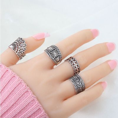 Ancient Hollow Finger Ring Ring Set Women Jewelry For Wedding/Party Ring