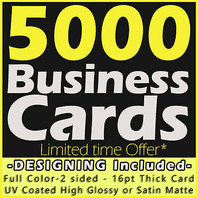 5000 Business Cards Full Color 2 Side Printing UV Coated-Free Designing-Shipping