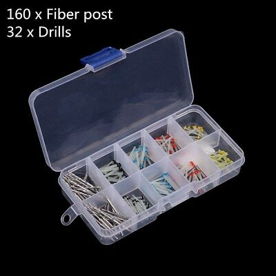 160 Pcs Glass Dental Fiber Post Single Refilled Package + 32 Pcs Drills