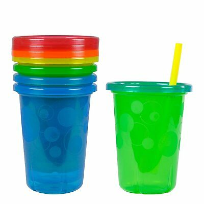 4 Pk Spill Proof Plastic Cups Tumbler With Lids Straws Sippy Toddler Kids 10 Oz