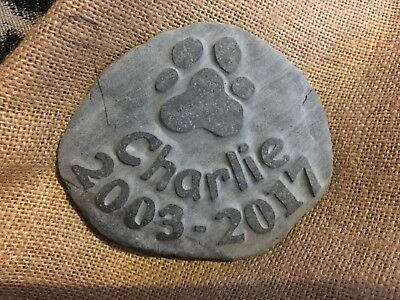 Hand made bespoke pet memory natural stone dog cat with paw print name date