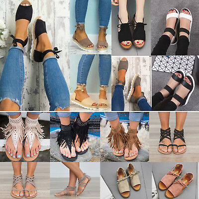 Women Sandals Flat Wedge Strappy Espadrilles Peep Toe Beach Flip Flops Shoes US