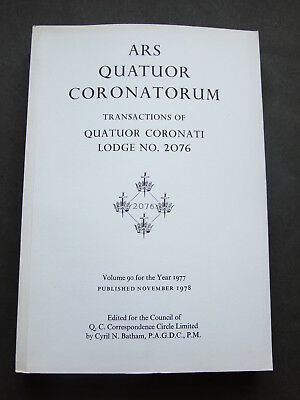 Ars Quatuor Coronatorum Paperback Issue - various years available 1975 to 2012