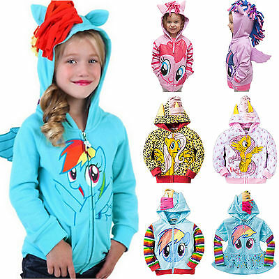 Kids Girls Hoody My Little Pony Wing Sweater Sweatshirt Coat Zip Jacket Costume