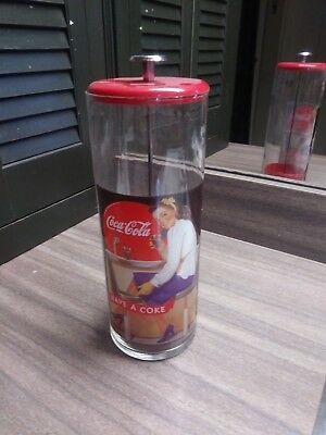 Coca Cola Straw Canister Vintage with Girl at Old Fashioned Soda Counter 1950s