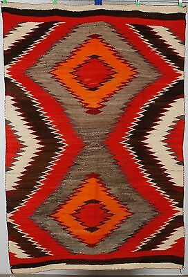 Early Navajo rug, transitional blanket Native American textile, weaving 1890's