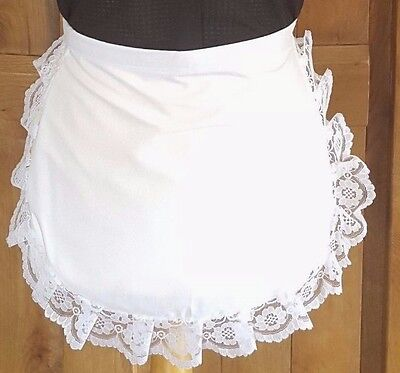 """WHITE WAIST APRON cream lace trimmed ADULTS 50/'S  FRENCH MAID PINNY 68/"""" waist"""