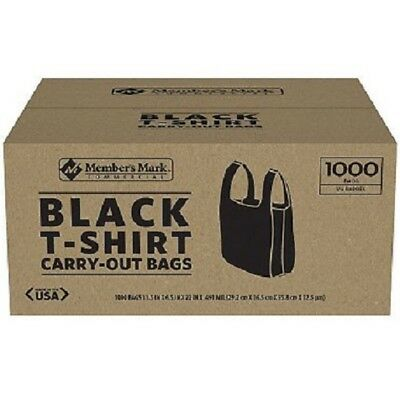 1000 T-Shirt Plastic Grocery Convenience Shopping Carry Out Bag Recyclable Black