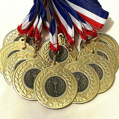 10 x Multisport Medals & Ribbons, Multi Sport Trophy Awards Olympic Torch Medal