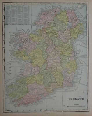 Original 1900 Map IRELAND Dublin Kerry Galway Ulster Londonderry Wicklow Tyrone