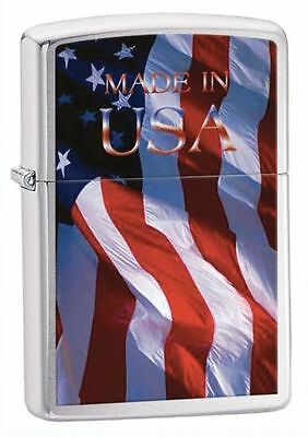"""Zippo """"Made in USA-Flag"""" Brushed Chrome Lighter, ***Extra Flints/Wick***  24797"""