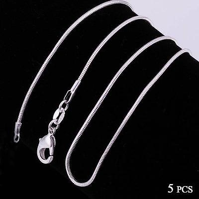 Fashion 5pcs 925 Sterling Solid Silver Necklace 1mm Snake Chain 16-30inch @GA
