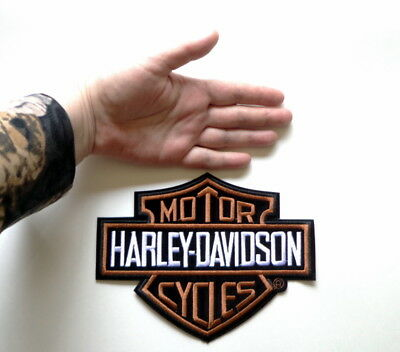 """Vintage Harley Orange & Yellow Flamed Bar and Shield Davidson Patch 4.1"""" x 3.4"""""""