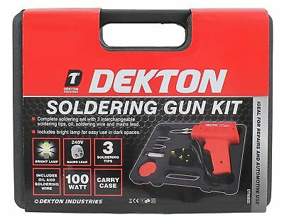 Dekton 100W 240V Soldering Gun Set With Bright Lamp & Accessories DT60935