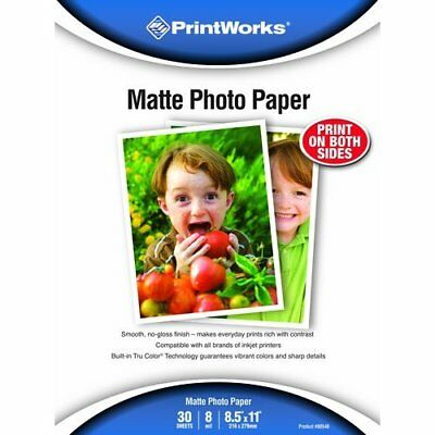 Printworks Matte Photo Paper Double-Sided 8 Mil, Inkjet, 30 Sheets, 8.5 x 11 in.