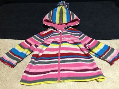 Girls 12M Month The Children's Place Hooded Fleece Pink Striped Hoodie Jacket