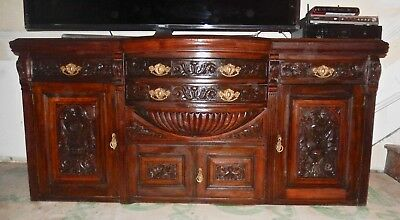 "Antique Carved Walnut Dining Rm Buffet Table 72""L X 33""tall & 22""deep, Needs TLC"