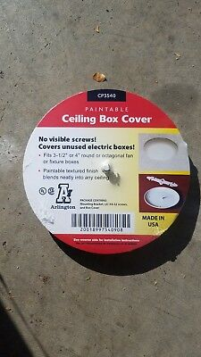 """$2.00 EACH LOT OF 10 ARLINGTON CP3540 Paintable Ceiling Box Covers 3-1/2""""- 4"""""""