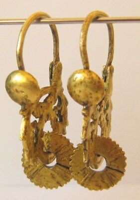 AMAZING ANTIQUE POST MEDIEVAL 18-19th.c.SILVER GOLD PLATED EARRINGS   # 386