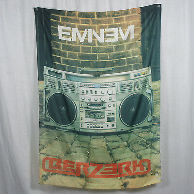 Authentic EMINEM Berzerk Radio BoomBox Logo Silk-Like Fabric Poster Flag NEW