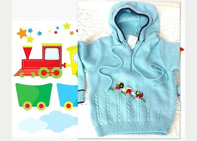 VTG 18 Mo Baby Boy Sweater Choo Choo Train Blue Hooded Sweet