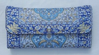 9d8abb3a1f1 Women's Faux Leather Wallet Purse Multi Pocket Blue Gold Turkish Tapestry  NEW