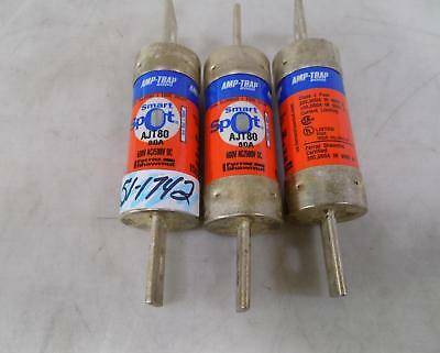 Ferraz Shawmut Amp-Trap 80A Dual Element Time Delay Fuse Lot Of 3  Ajt80