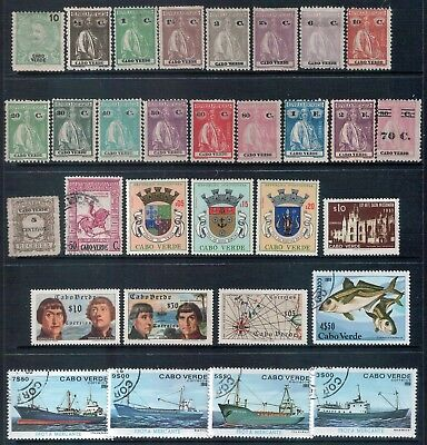 CAPE VERDE - Mixed Lot of 40 Stamps Good Used - Mint LH   2 Scans