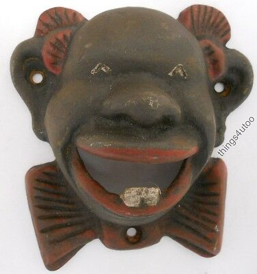 Black Face Americana Negro colored cast iron bottle opener #C2080