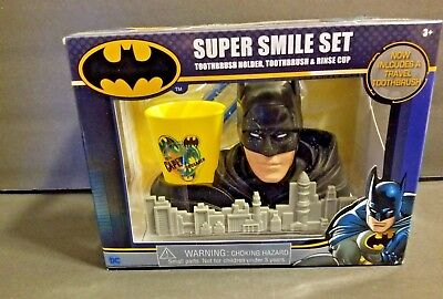 DC Batman Super Smile Set Toothbrush Holder Travel Toothbrush & Rinse Cup