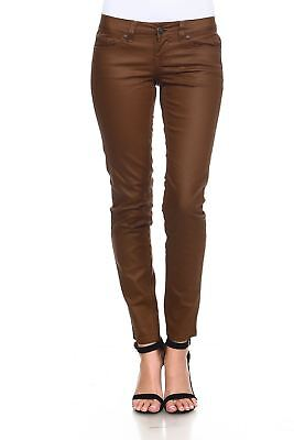 Request Jeans Juniors Jeans Skinny Trendy Coated Five Pocket Cognac Mid-Rise
