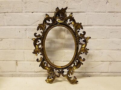 Antique Rococo Metal Oval  Picture Frame