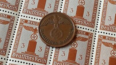 Set of Original Germany coin 1 pfennig and stamp with Swastika 16